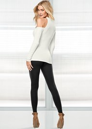 Back view Ribbed Long Sleeve Top