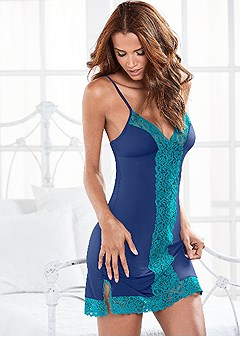 color block lace chemise