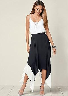 color block high low skirt