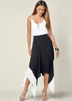 color block high low skirt