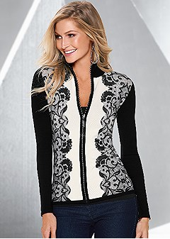 lace print zipper sweater