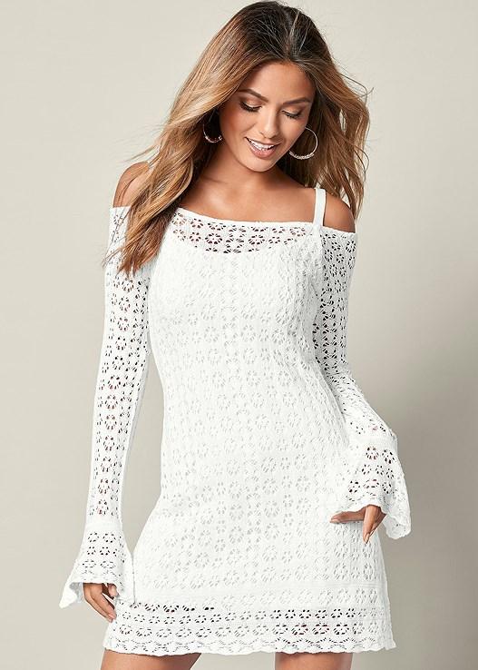 Cold Shoulder Crochet Dress in White | VENUS