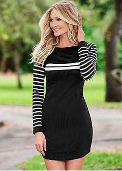 stripe detail sweater dress