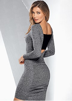 ruched detail sweater dress