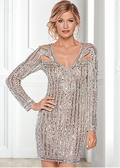 all over beaded party dress
