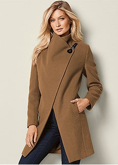 asymmetrical buckle coat
