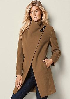 asymmetrical buckle coat