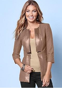 faux leather trim jacket