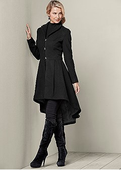 high low pleated coat