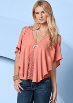 lace inset flowy top