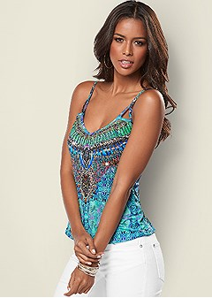 embellished print tank top