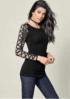 lace criss cross sleeve top