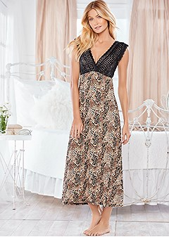 printed midi sleep dress