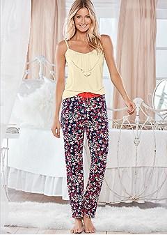 ruffle tank pajama pant set