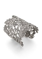 wide floral metal bangle