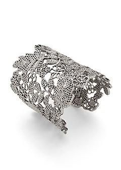 wide floral metal bangle