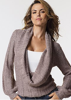 Venus Deep Cowl Neck Sweater In