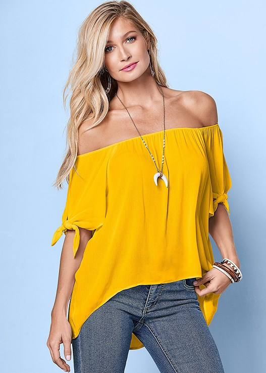 7c9c8a2e8c5f TIE OFF THE SHOULDER BLOUSE in Yellow