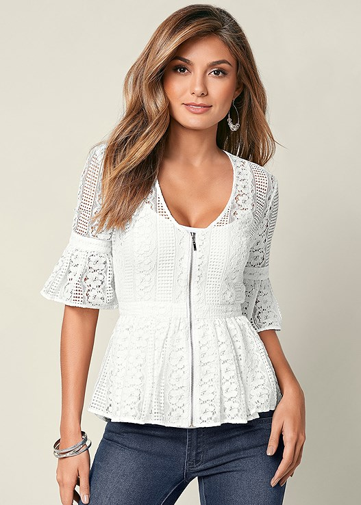 ZIP UP LACE TOP,SEAMLESS CAMI,COLOR SKINNY JEANS,HIGH HEEL STRAPPY SANDAL