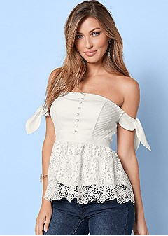 tie sleeves lace top