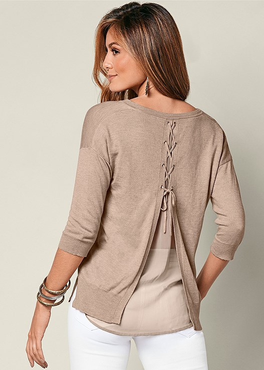 LACE UP BACK SWEATER,COLOR SKINNY JEANS,WRAP STITCH DETAIL BOOTIES