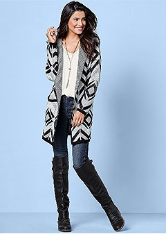 hooded geo print cardigan