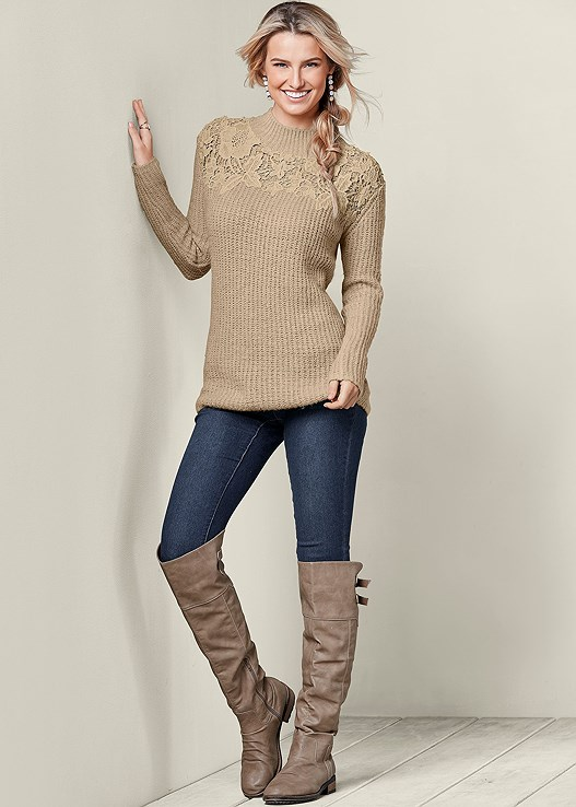 LACE MOCK NECK SWEATER