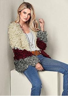 cozy color block cardigan