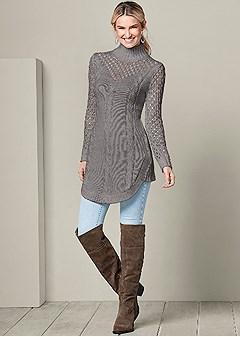 open knit turtleneck