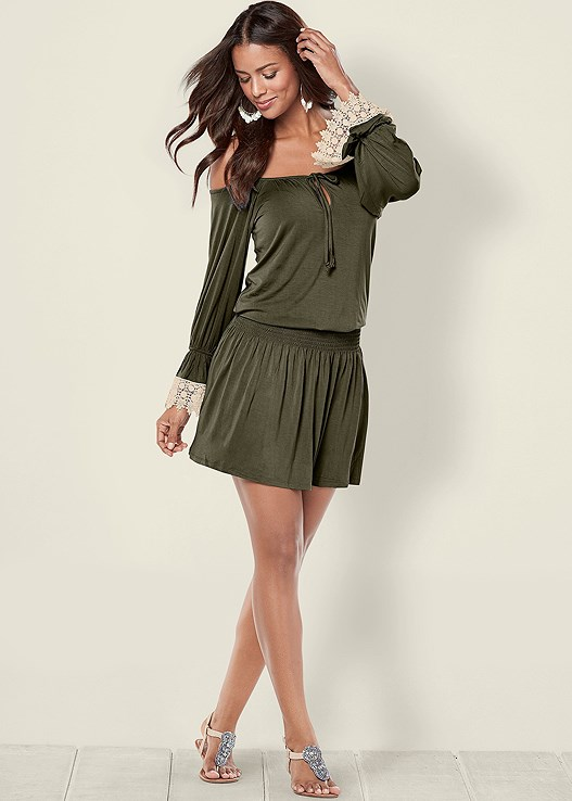 e46b2a4c0ff Olive   Off White COLD SHOULDER DRESS from VENUS