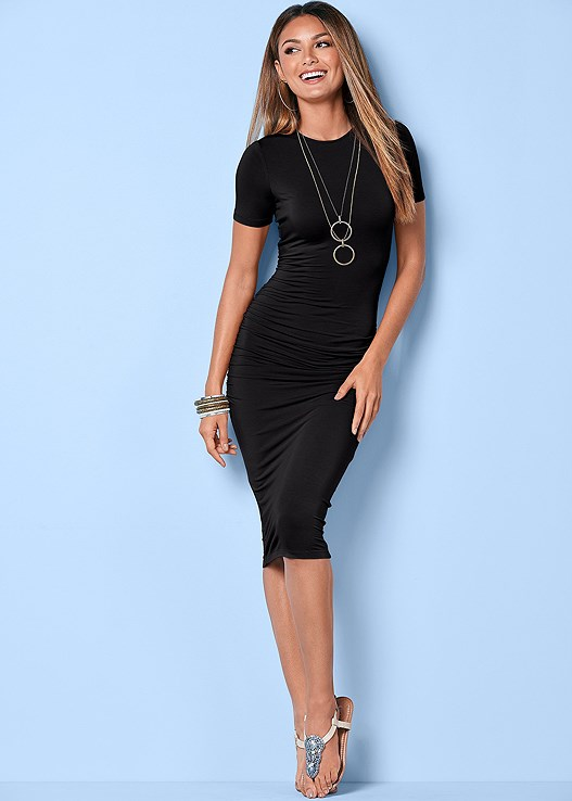 BASIC HIGH NECK DRESS,TWO TONE CHAIN NECKLACE