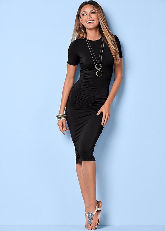 Basic High Neck Dress In Black Venus