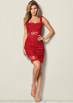 4c0e06502e45 Red LACE BODYCON DRESS