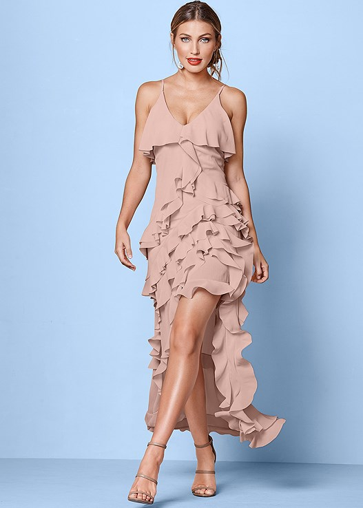 RUFFLE DETAIL LONG DRESS,HIGH HEEL STRAPPY SANDALS