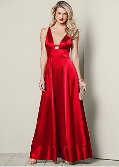 Plunging V Neck Long Dress