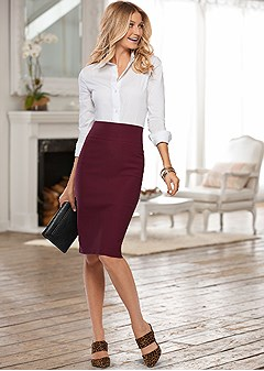 slimming pull on midi skirt