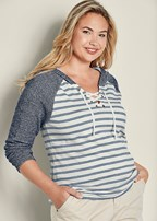 plus size striped lace up hoodie